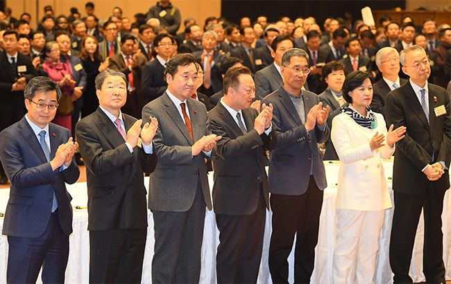 지난 3일 서울 강남구 코엑스에서 '2018 경제계 신년인사회'가 열리고 있다. /사진=김재훈 기자