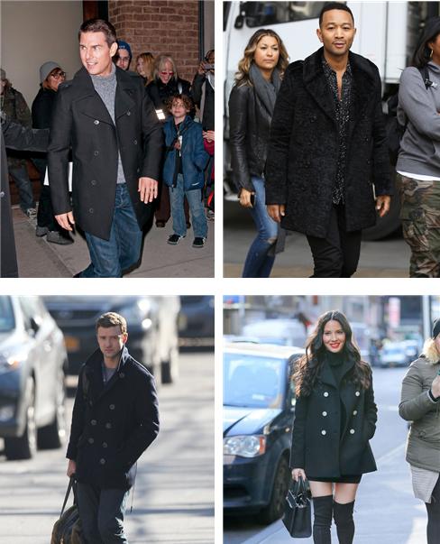 피-코트를 입은 연예인들의 모습. 톰 크루즈(배우, 좌상), 존 레전드(가수, 우상), 저스틴 팀버레이크(가수, 좌하), 올리비아 문(모델, 우하) /출처=인스타그램