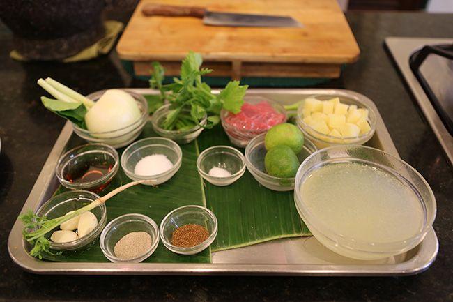 요리 실습을 위해 준비된 재료들