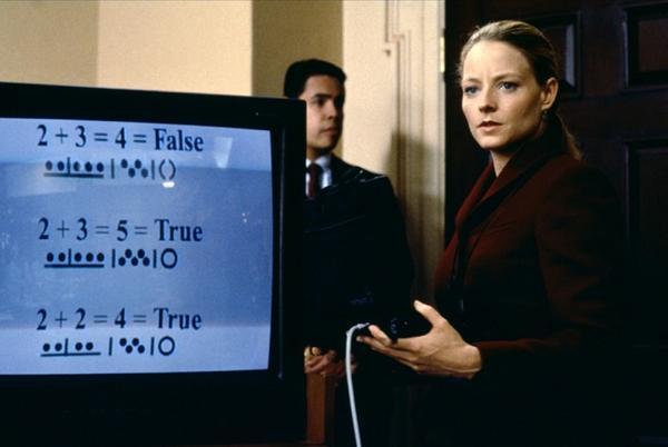 콘택트 1997 외계 메시지. 외계에서 온 메시지에 포함된 간단한 논리식으로 해독 키를 찾는 장면 /사진=워너브라더스