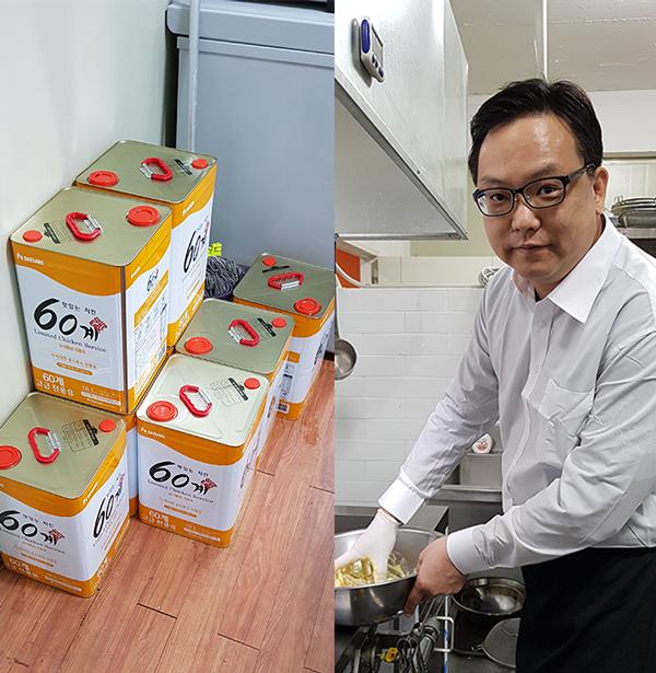 (왼쪽) 60계 본사는 가맹점주에게 매월 튀김기름을 무상으로 기본 30통을 제공하고 매출에 따라 추가 20통을 무조건 제공하고 있다. (오른쪽) 60계 치킨 창업자 장조웅 대표