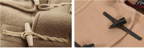 나무 재질(좌)과 뿔 재질(우)의 토글 단추 /출처=https://www.gentlemansgazette.com/duffle-coat-guide-history-details/