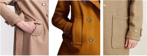 좌측으로부터 트렌치 코트, 피 코트, 더플 코트의 주머니 /출처 =https://www.gentlemansgazette.com/duffle-coat-guide-history-details/