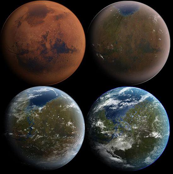 화성이 지구처럼 변화하는 테라포밍 과정 상상도 /사진=Wiki