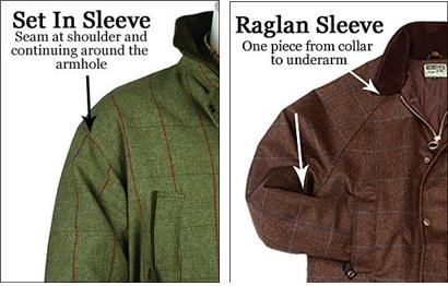 셋-인(좌)과 래글런(우) 소매 방식의 사냥복 비교/출처=https://www.cherrytreecountryclothing.com/expert-advice/difference-between-raglan-sleeve-and-set-in-sleeve/