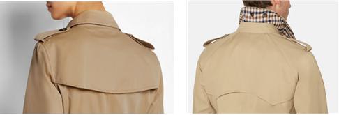 뒷면을 보면 소매 재봉 방식이 확연히 다름을 알 수 있다. 버버리 트렌치 코트(좌), 아쿠아스큐텀 래글런 코트(우)/출처=버버리 홈페이지, 아쿠아스큐텀 홈페이지
