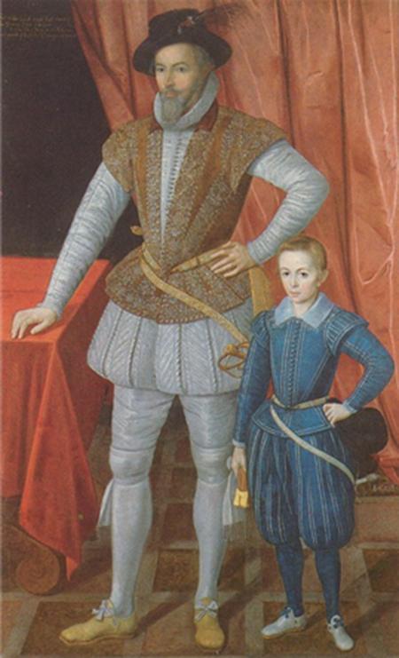 """작자 미상, """"호스를 입고 있는 월터 롤리 경과 그 아들"""" (1602년) /출처=런던 국립초상화박물관 홈페이지"""