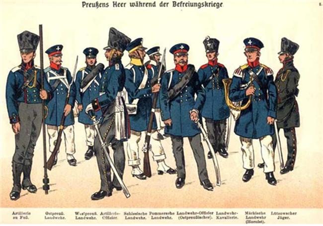 워털루 전쟁에 참전한 프러시아 장병의 복장을 묘사한 삽화. 무릎까지 내려오는 프록 코트를 입은 이들이 중간중간 눈에 띈다. /출처=핀터레스트
