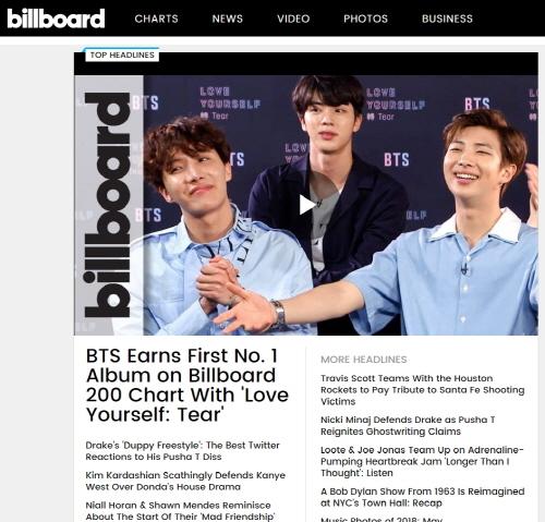 방탄소년단의 빌보드 200 차트 1위를 헤드라인 뉴스로 보도한 빌보드 홈페이지 첫 화면. / 빌보드 홈페이지 캡처