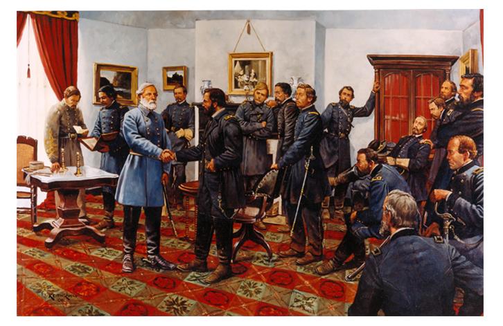 1865년 4월 9일, 남군의 항복 조인식을 그린 그림. 양측 장교 모두 프록 코트를 입고 있다. /출처=핀터레스트