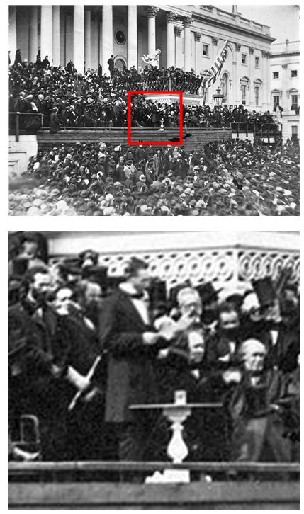국회의사당 앞에서 재선 취임 연설을 하고 있는 링컨 대통령. 상단 사진에 붉게 표시한 부분을 확대한 것이 하단 사진이다. /출처=미국 국립문서기록관리청