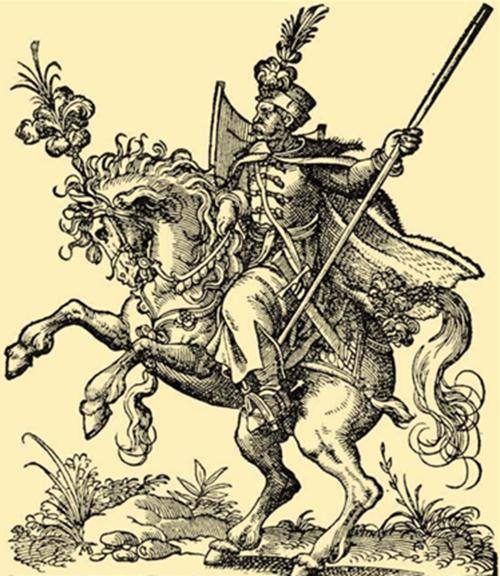 1550년 경 돌만을 입은 헝가리 경기병의 모습 /출처= http://keptar.oszk.hu/html/kepoldal/index.phtml?id=006385
