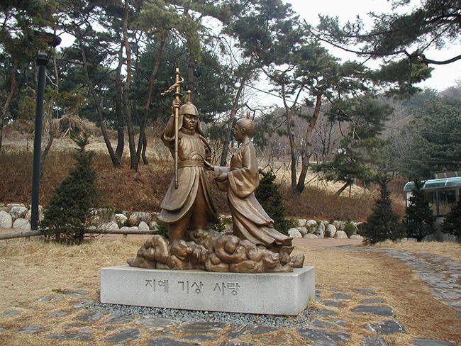 서울 아차산 온달장군과 평강공주 동상
