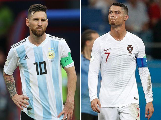 아르헨티나의 리오넬 메시(왼쪽)와 포르투갈의 크리스티아누 호날두. 아르헨티나와 포르투갈이 지난달 30일(현지시간) 열린 2018 러시아 월드컵 16강전에서 각각 프랑스와 우루과이에 패하며 탈락함에 따라 관심을 모았던 세기의 대결이 무산되며 특급 골잡이인 두 사람은 러시아 월드컵 무대에서 나란히 짐을 싸게 됐다. /사진=모스크바 AFP, 연합뉴스