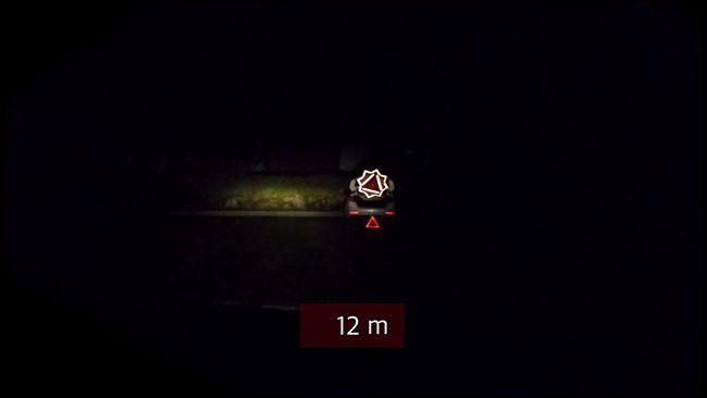 야간에 사고지점으로부터 12미터 떨어져 있을 때 바라본 모습