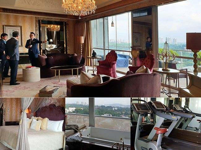 지난달 12일 미·북정상회담 당시 김정은 북한 국무위원장이 머물렀던 싱가포르 세인트레지스 호텔 숙소 내부 모습. 위 사진부터 시계 반대 방향으로 김 위원장이 참모진과 회의했던 거실과 호화로운 침실, 그리고 싱가포르 전경이 내려다보이는 욕조, 러닝머신이 갖춰져 있다. /사진=(싱가포르)강계만 기자