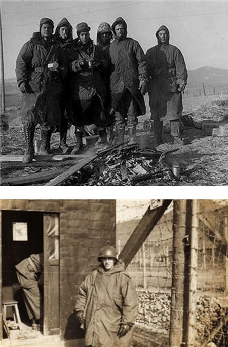 한국전쟁 당시 파커를 입은 미군들의 모습(상), 1960년대 개량형 파커를 입고 있는 미군 보초(하) /출처=위키피디아
