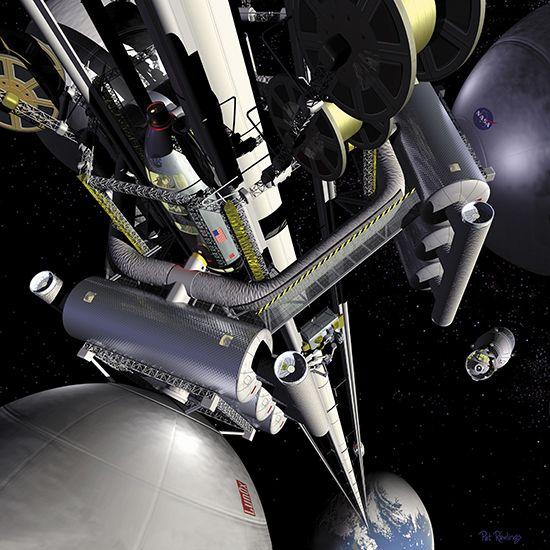 우주엘리베이터 상상도 _위키백과