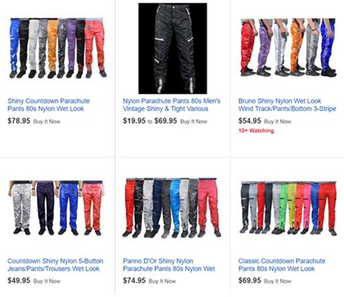 """인터넷 쇼핑몰의 화면을 캡쳐한 모습. """"1980년대 구제 낙하산 바지 판매""""라고 써 있다. / 출처=이베이"""