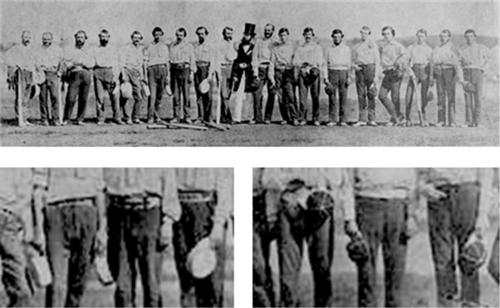 1859년 뉴욕 키커보커스 팀(좌)과 브루클린 엑셀시어스 팀(우)의 경기 후 찍은 사진 /출처=https://sabr.org/gamesproj/game/june-30-1859-caught-fly-knickerbockers-vs-excelsiors