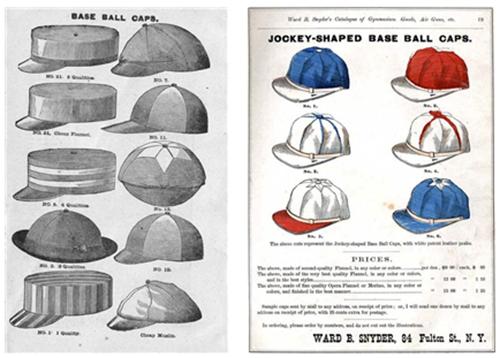 19세기 말, 각 야구팀은 자신들만의 모자를 디자인하여 썼다. /출처=http://www.strictlyfitteds.com/blog/2008/07/baseball-cap-history
