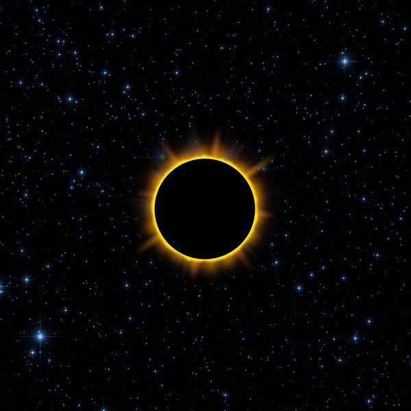 사상의 지평선(event horizon). 가운데 새까만 부분이 블랙홀이다. 그 어떤 것도 저 경계선 밖으로 나오지 못한다.