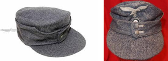 독일군 동계 모자의 덮개 부분을 올려 단추로 잠근 모습. /출처=https://www.emedals.com/an-m43-luftwaffe-nco-s-field-cap