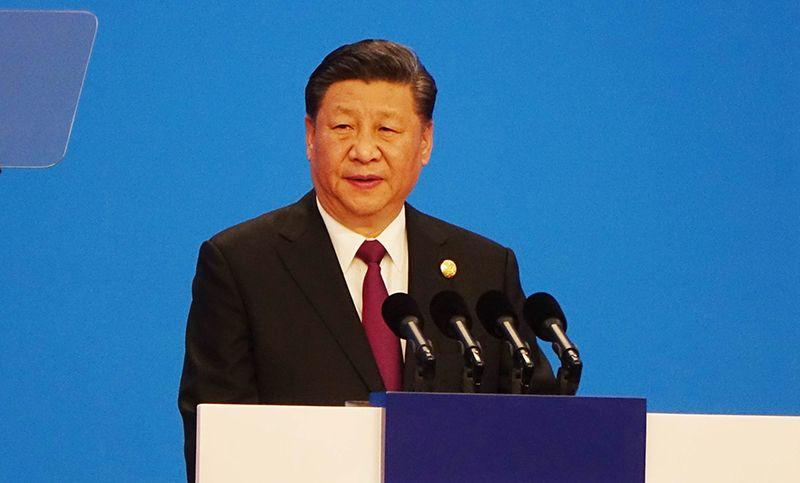 시진핑(習近平) 중국 국가주석이 5일 상하이 국가회의전람센터(NECC)에서 열린 제1회 중국국제수입박람회 개막식에서 기조연설을 하고 있다. /사진=(상하이)연합뉴스