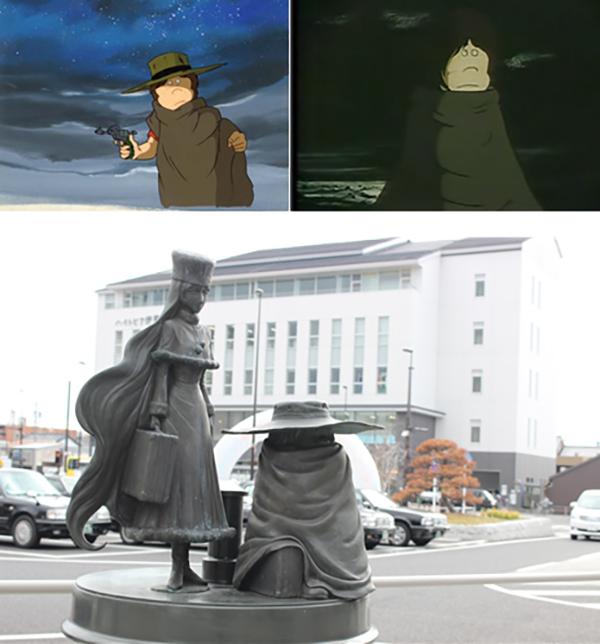 작화상에서 판초를 입은 철이의 모습과 일본 혼슈 이가시(市)에 있는