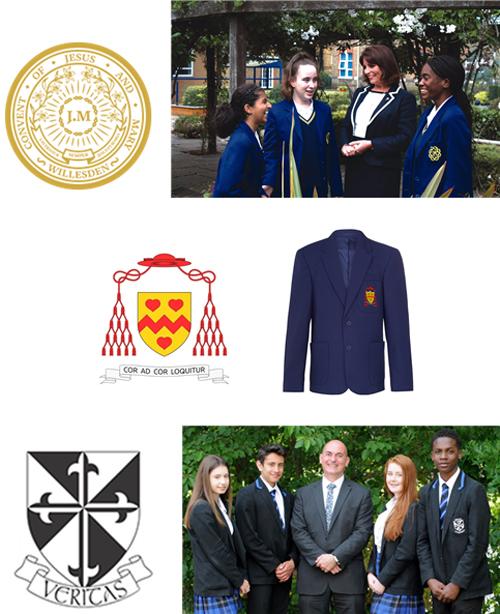 웨스트민스터 대교구 예하의 학교의 문장과 교복의 배지들 /출처=@웨스트민스터대교구