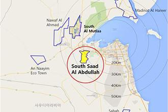 쿠웨이트 사우스 사드 알 압둘라 신도시 위치. [국토교통부 제공]