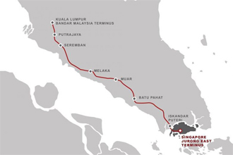 신설되는 말레이시아~싱가포르 고속철도 구간 [트위터 캡처]