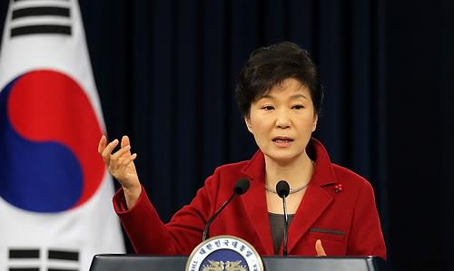 박근혜 전 대통령이 2015년 1월 12일 오전 청와대 춘추관에서 신년 내외신 기자회견을 하고 있다. [사진=연합뉴스]