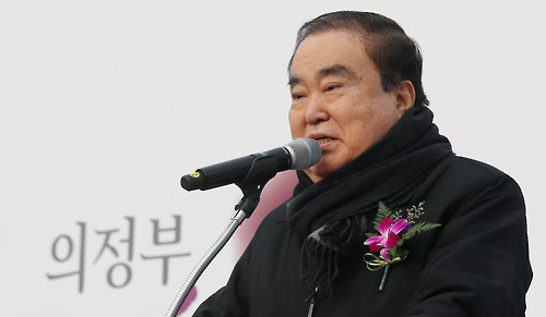 2016년 12월 5일 오후 의정부 장암동 인근에서 열린 동부간선도로 개설 준공식에서 문희상 민주당 의원이 축사하고 있다. [사진=연합뉴스]