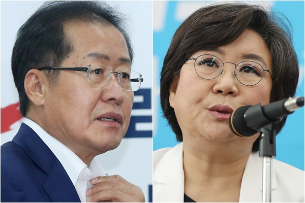 홍준표 자유한국당 대표, 이혜훈 바른정당 대표[사진=연합뉴스]