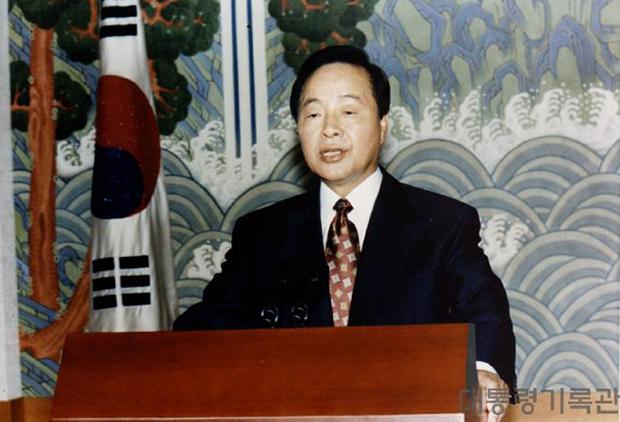 5.18광주민주화운동에따른특별담화발표를 하고있는 김영삼 전 대통령[사진=대통령기록관]