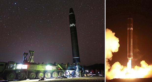 """김정은 북한 노동당 위원장이 미사일 발사 지시를 친필명령한 대륙간 탄도미사일(ICBM) """"화성-15""""가 성공적으로 발사됐다고 조선중앙통신이 29일 보도했다. 사진은 화성-15형 시험발사 모습.[사진=연합뉴스]"""