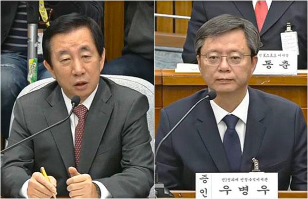 김성태의원(좌),우병우전 민정수석[사진=국회방송]