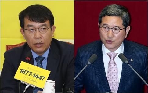 김종대 정의당 의원(왼),김학용 자유한국당 의원[사진=연합뉴스]