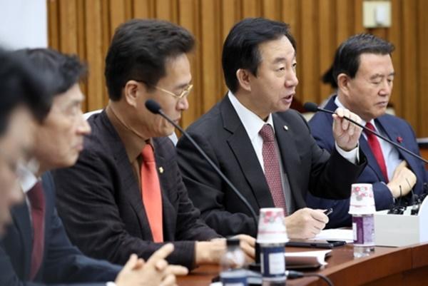 자유한국당 김성태 원내대표가 12일 오전 국회에서 열린 원내대책회의에서 발언하고 있다. [사진=연합뉴스]
