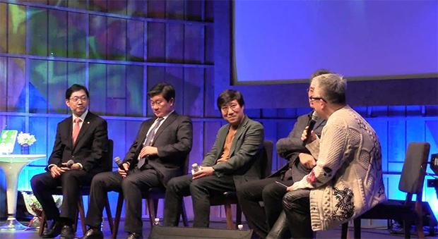 왼쪽부터 김경수의원, 전해철 의원, 양정철 작가, 윤태영 전 대변인, 김형석 작곡가