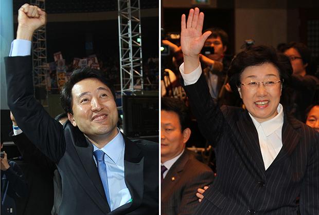 당시 오세훈 서울시장과 민주당 후보였던 한명숙 전 국무총리[사진=매경DB]