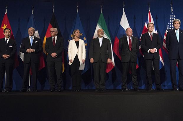 이란 핵협상 타결 발표하는 각국 협상대표들[AP=연합뉴스]