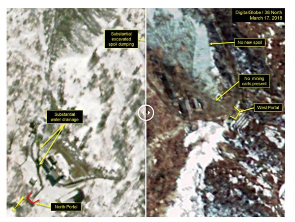 3월 2일(왼쪽)과 14일 촬영된 풍계리 위성사진. 촬영 사진을 비교해보면 2주 사이에 배수 및 굴착 작업이 둔해지고 관련 인부도 줄어든 정황을 엿볼 수 있다. [사진 제공=38노스 홈페이지]