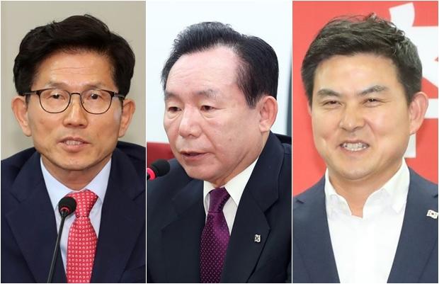 자유한국당 김문수 전 경기지사, 이인제 전 의원, 김태호 전 지사[사진=연합뉴스]