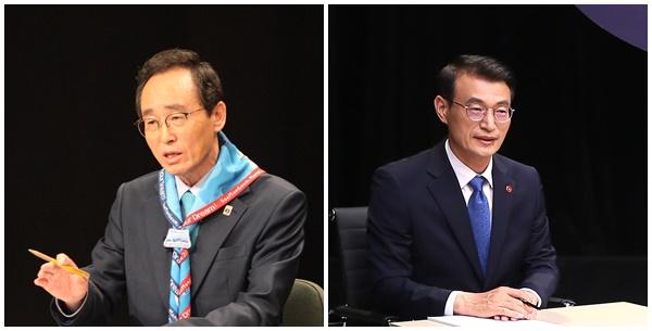 송하진 전북지사(좌측), 문대림 전 청와대 제도개선비서관(우측) [사진=연합뉴스]