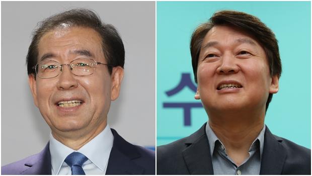 서울시장에 도전하는 박원순 더불어민주당 후보 , 안철수  바른미래당  후보[사진=연합뉴스]