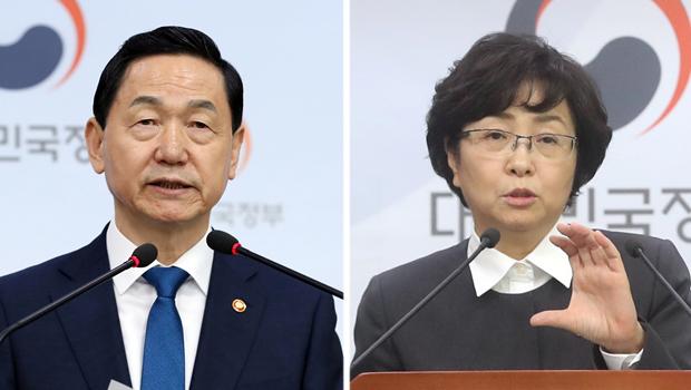 김상곤 사회부총리 겸 교육부 장관, 김은경 환경부 장관[사진=연합뉴스]