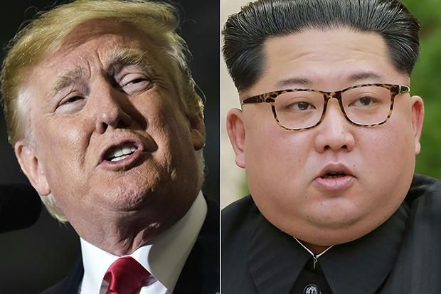 6월 싱가포르에서 역사적인 북미정상회담을 하는 도널드 트럼프 미국 대통령과 김정은 북한 국무위원장의 합성 사진. [사진=연합뉴스]