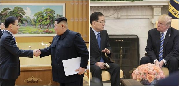 김정은 위원장과 도날드 트럼프 미국대통령을 만난 정의용 청와대 국가안보실장[사진=청와대]